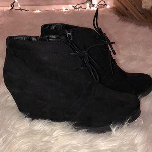Black bootie wedges